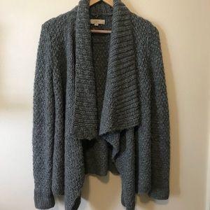 Loft Gray Waterfall Chunky Knit Open Cardigan